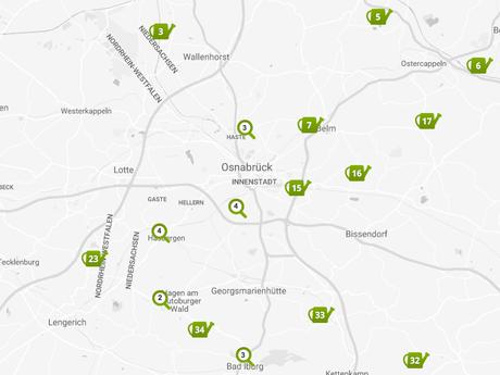 Übersichtskarte der Gärten des Offenen Gartentors Osnabrück
