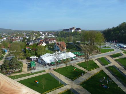 Landesgartenschau Bad Iburg 2018 - Aussicht vom Baumwipfelpfad auf das Schloss Iburg